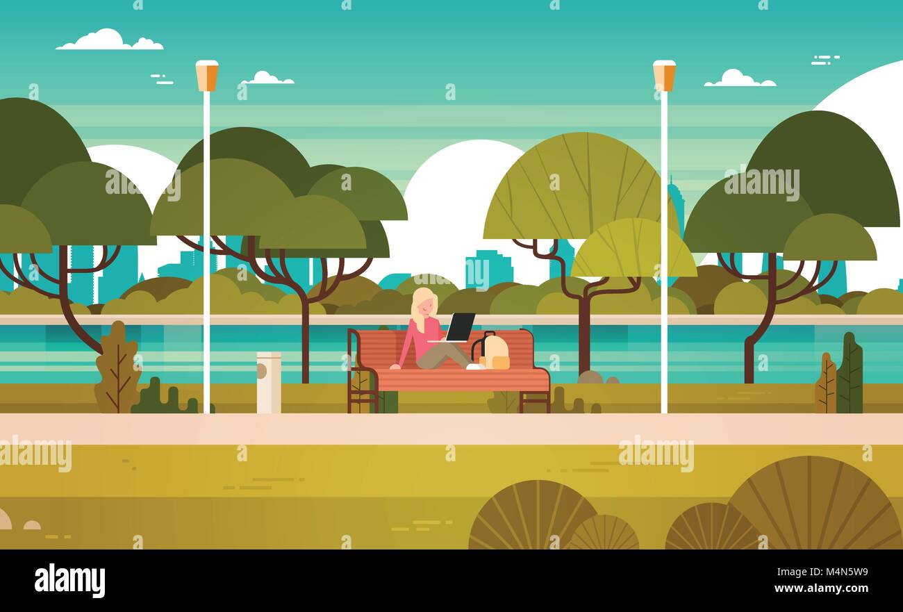 Young Girl In Park Working On Laptop Computer Outdoors Sitting On Bench - Stock Vector