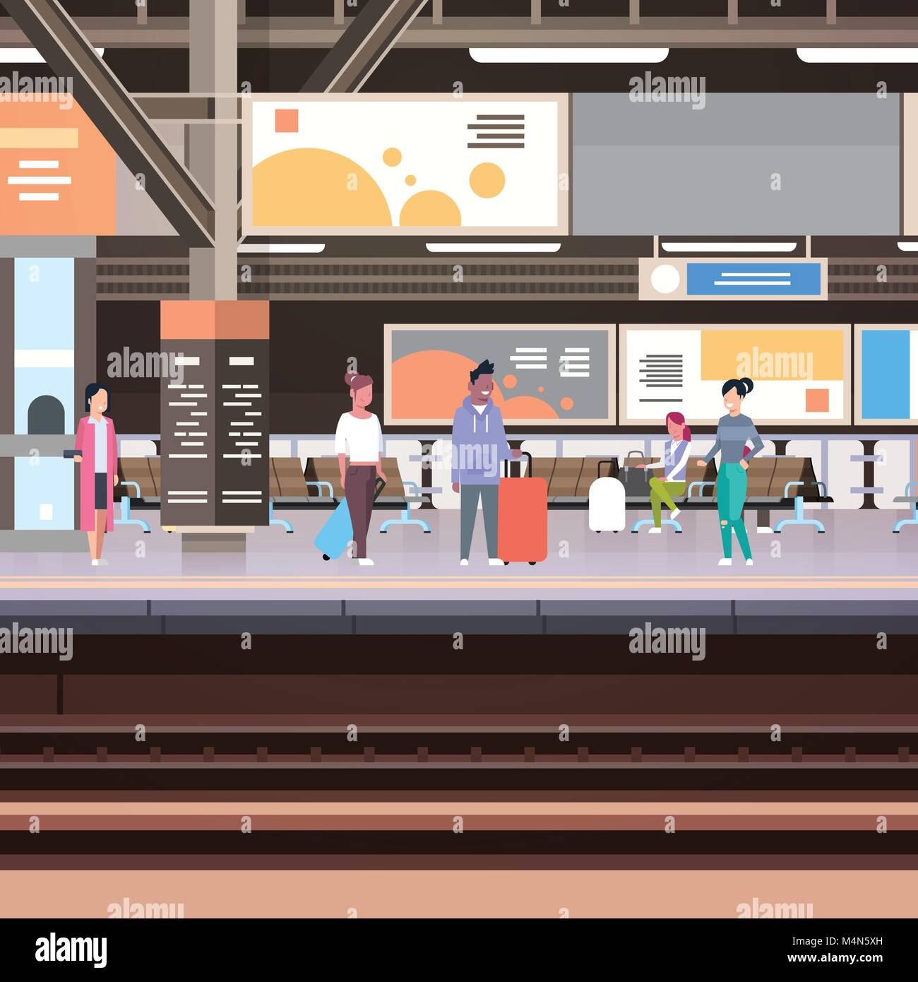 Railway Station Platform With Passengers Waiting For Train Departure Transportation Concept - Stock Vector