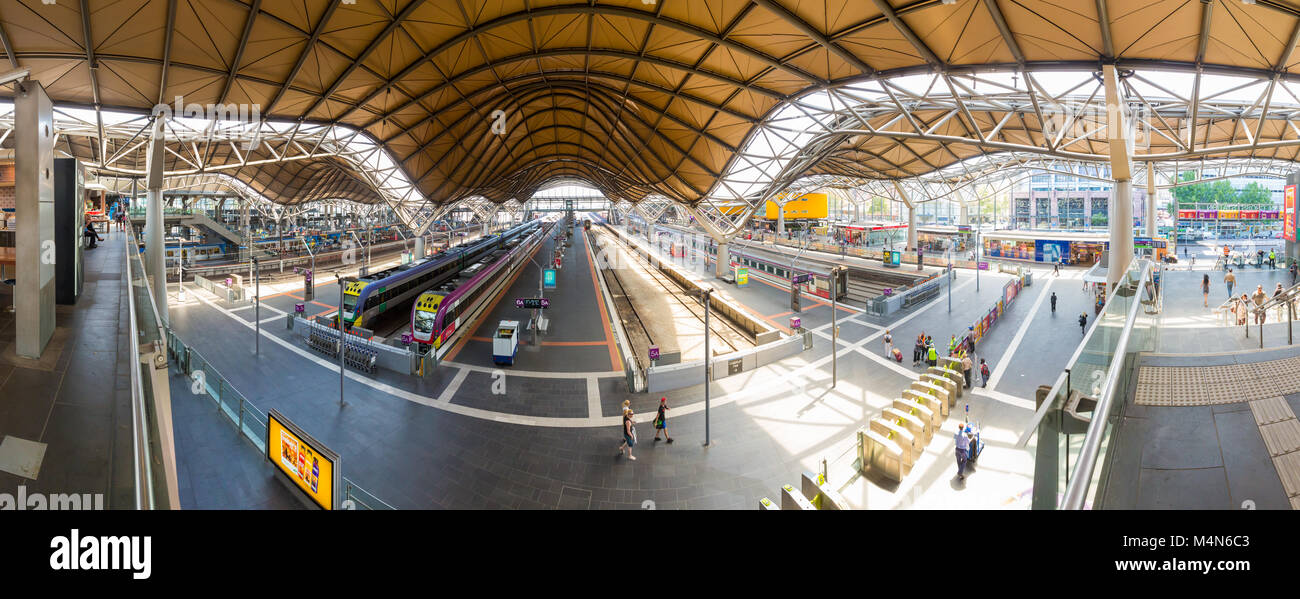 Panoramic view of Southern Cross Railway Station in Docklands, Melbourne. - Stock Image