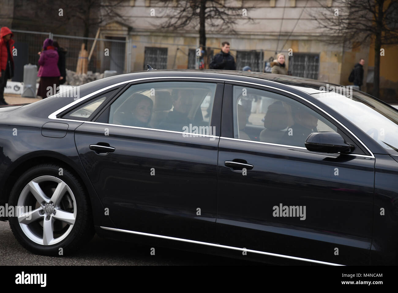 Copenhagen, Denmark. 17th Feb, 2018. Crown Prince Frederik, Crown Princess Mary, Prince Joachim and Princess Marie - Stock Image