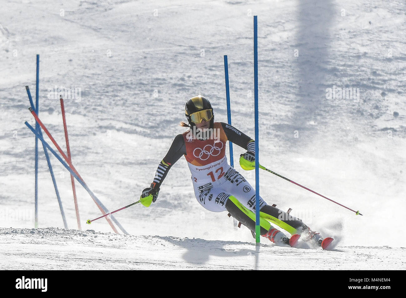 February 16, 2018: Christina Geiger of Germany competing in womens final in slalom at Yongpyong Alpine - Stock Image