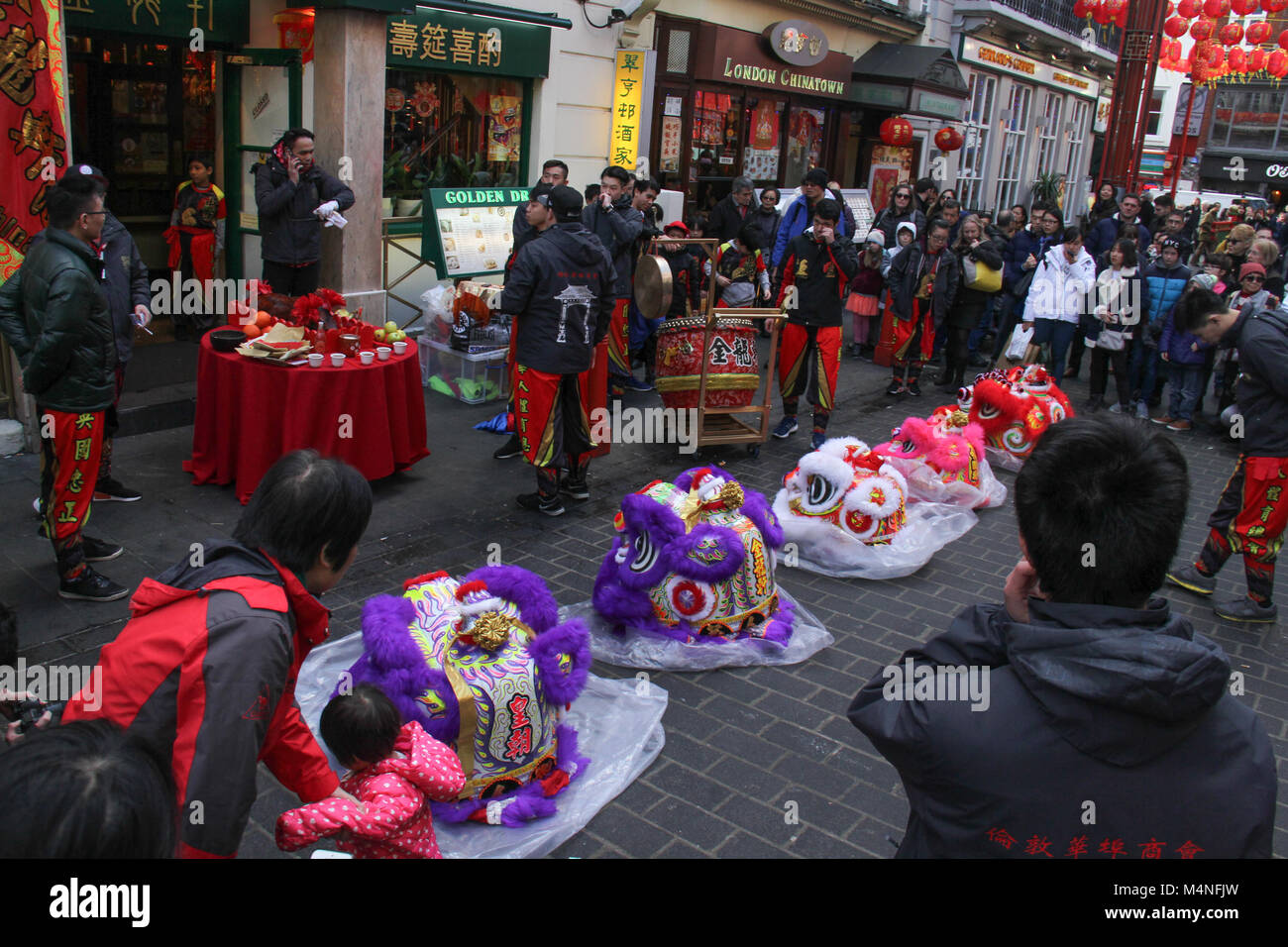 London, UK. 17th Feb, 2018. Entertainers prepare their Chinese Dragon props in China Town London on 17 February - Stock Image