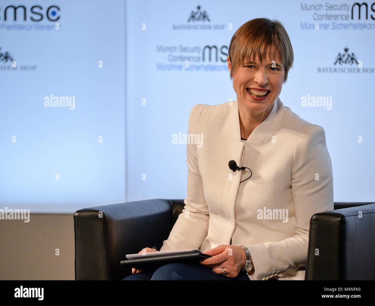 Munich, Germany. 15th Feb, 2018. MUNICH, GERMANY - FEBRUARY 15, 2018: Estonia's President Kersti Kaljulaid attends Stock Photo