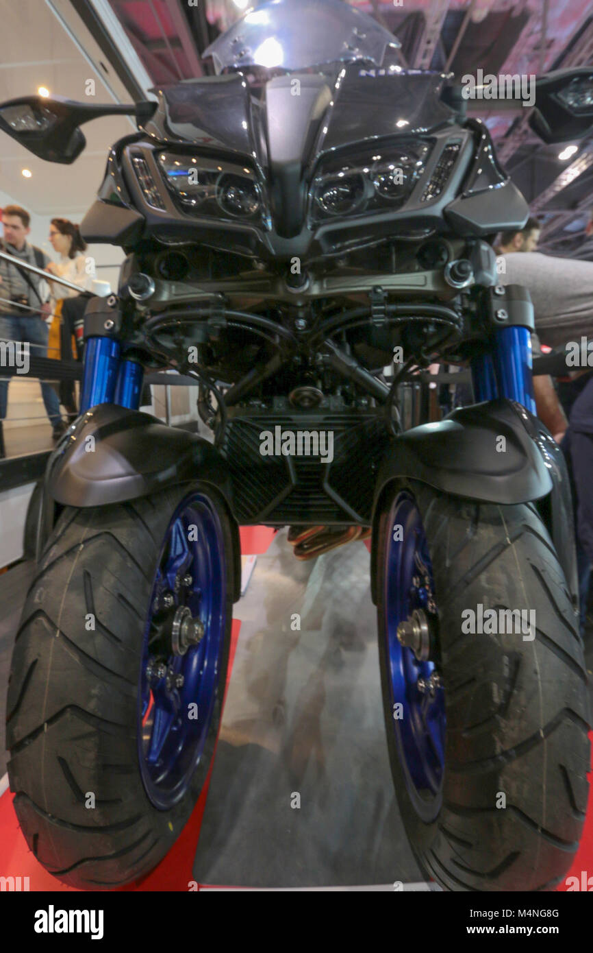 London Excel, UK. 17th Feb, 2018. Carol Nash MCN London Motorcycle Show 2018,introduce the first Yamaha Three wheel - Stock Image