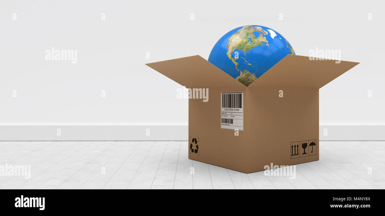 Composite 3d image of digitally generated image of globe in cardboard box - Stock Image