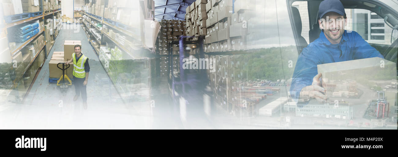 Composite image of commercial dock by sea - Stock Image