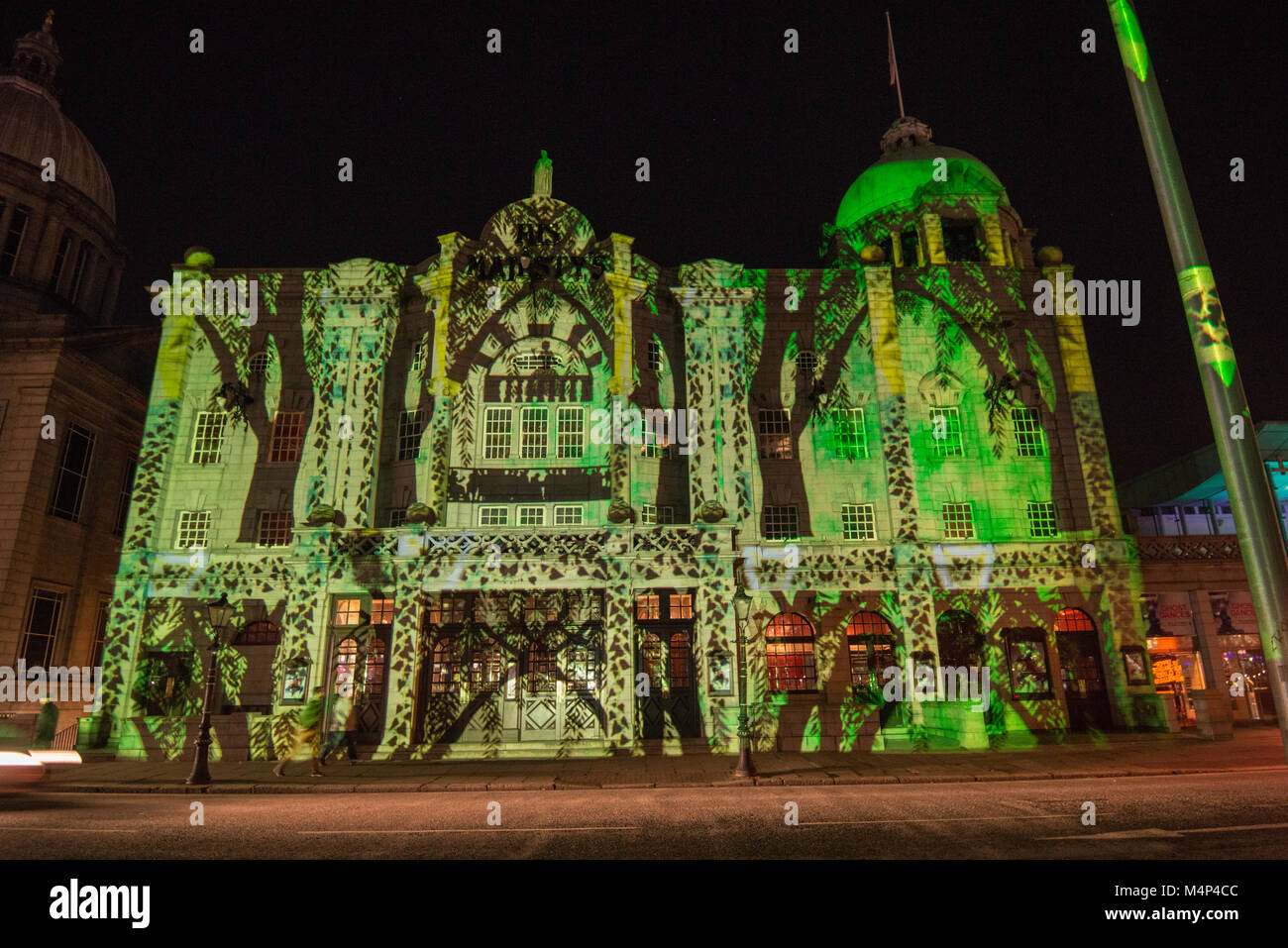 Spectra Light Festival 2018 projection on His Majesty's Theatre, Aberdeen, Scotland, UK - Stock Image