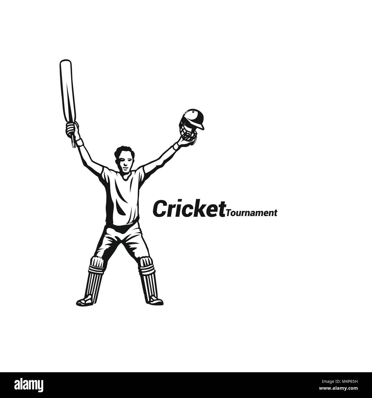 Cricket batsman celebrating his success - Stock Image
