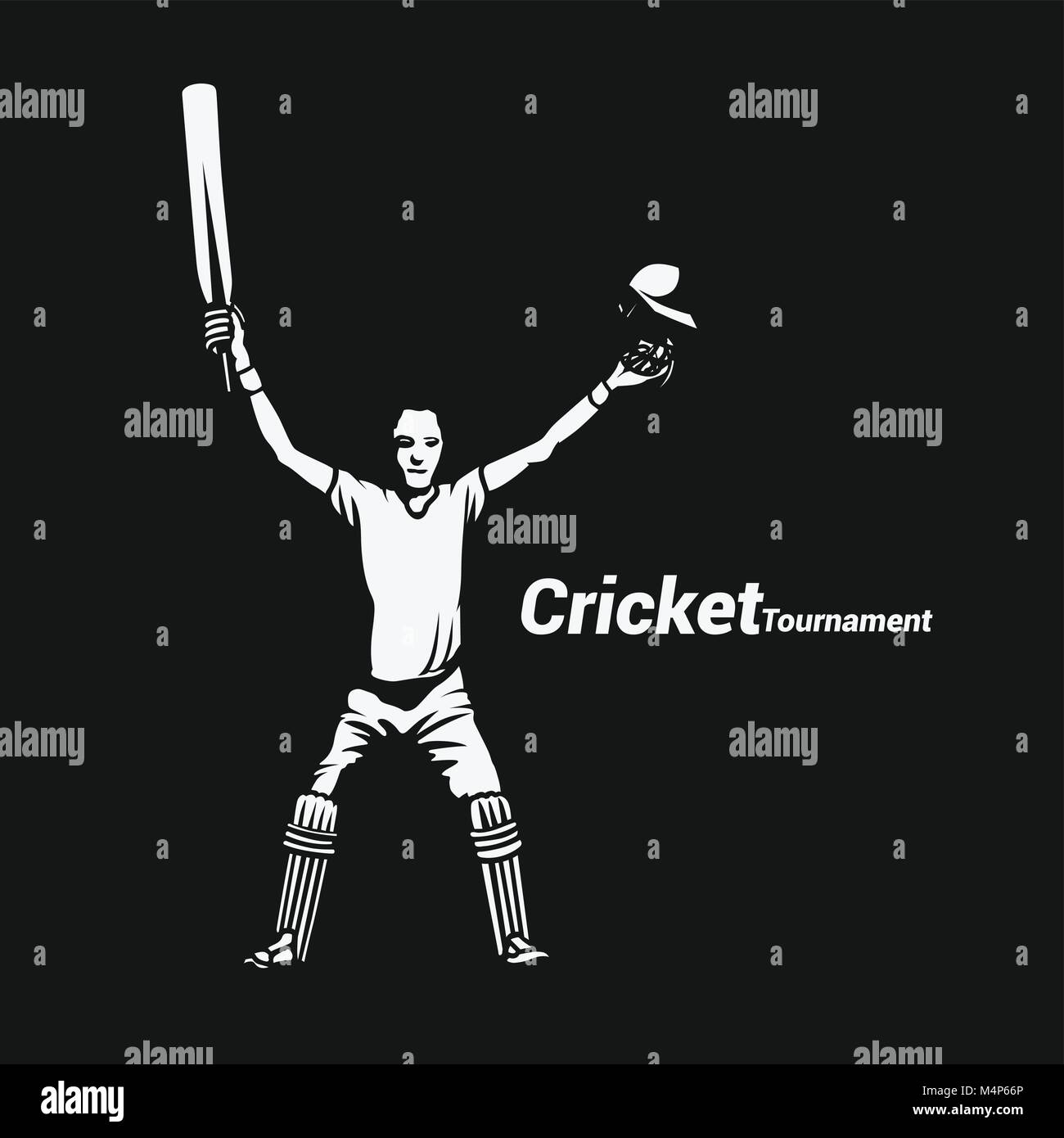 Portrait of a cricket batsman showing vector illustration. - Stock Image