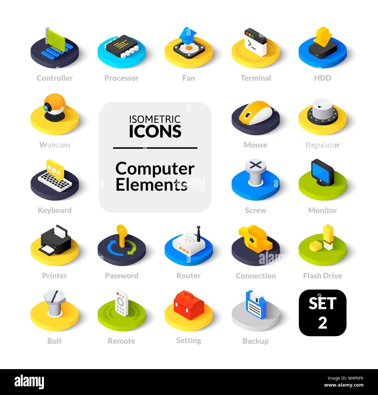 Color icons set in flat isometric illustration style, vector collection Stock Vector