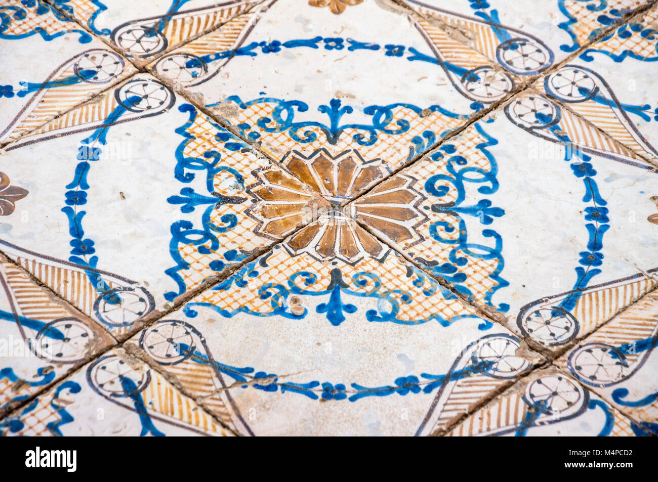 Detail of the painted ceramic floor, Villa Rufolo, Rvavello Stock Photo