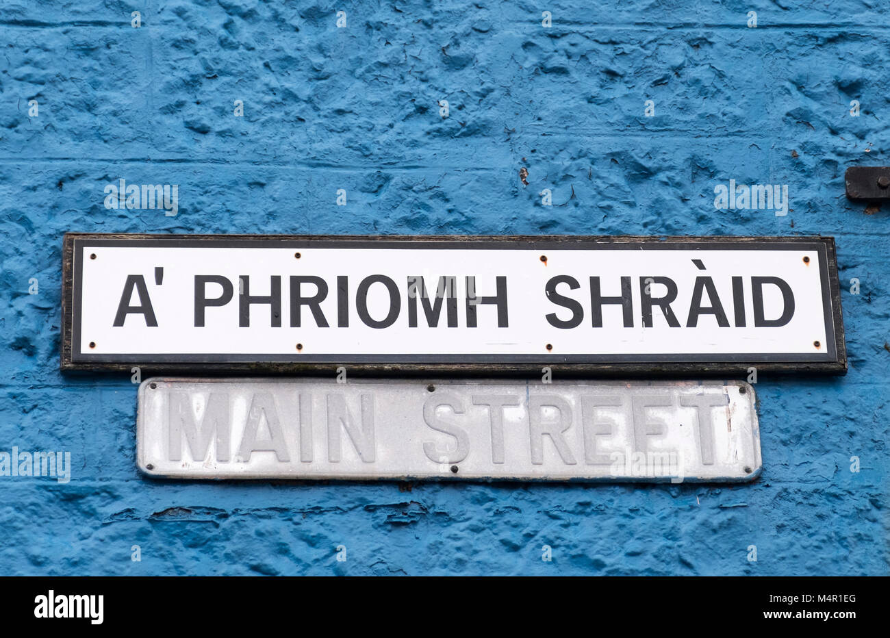 Main Street (A' Phriomh Shraid) sign in Tobermory, Isle of Mull Argyle & Bute, Inner Hebrides, Scotland. - Stock Image