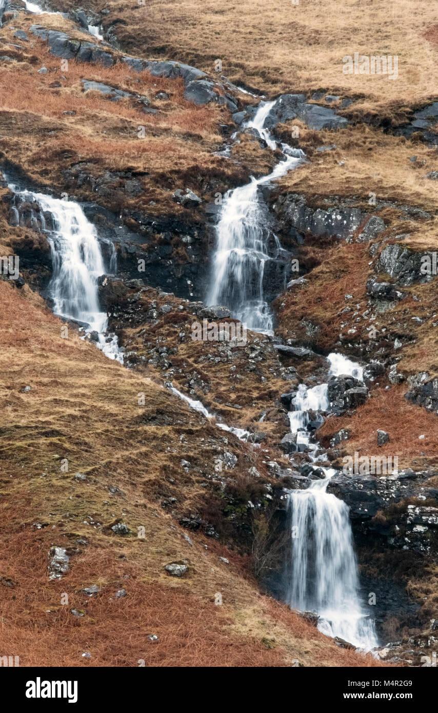 Waterfalls on a hillside on the island of Mull, Inner Hebrides. - Stock Image
