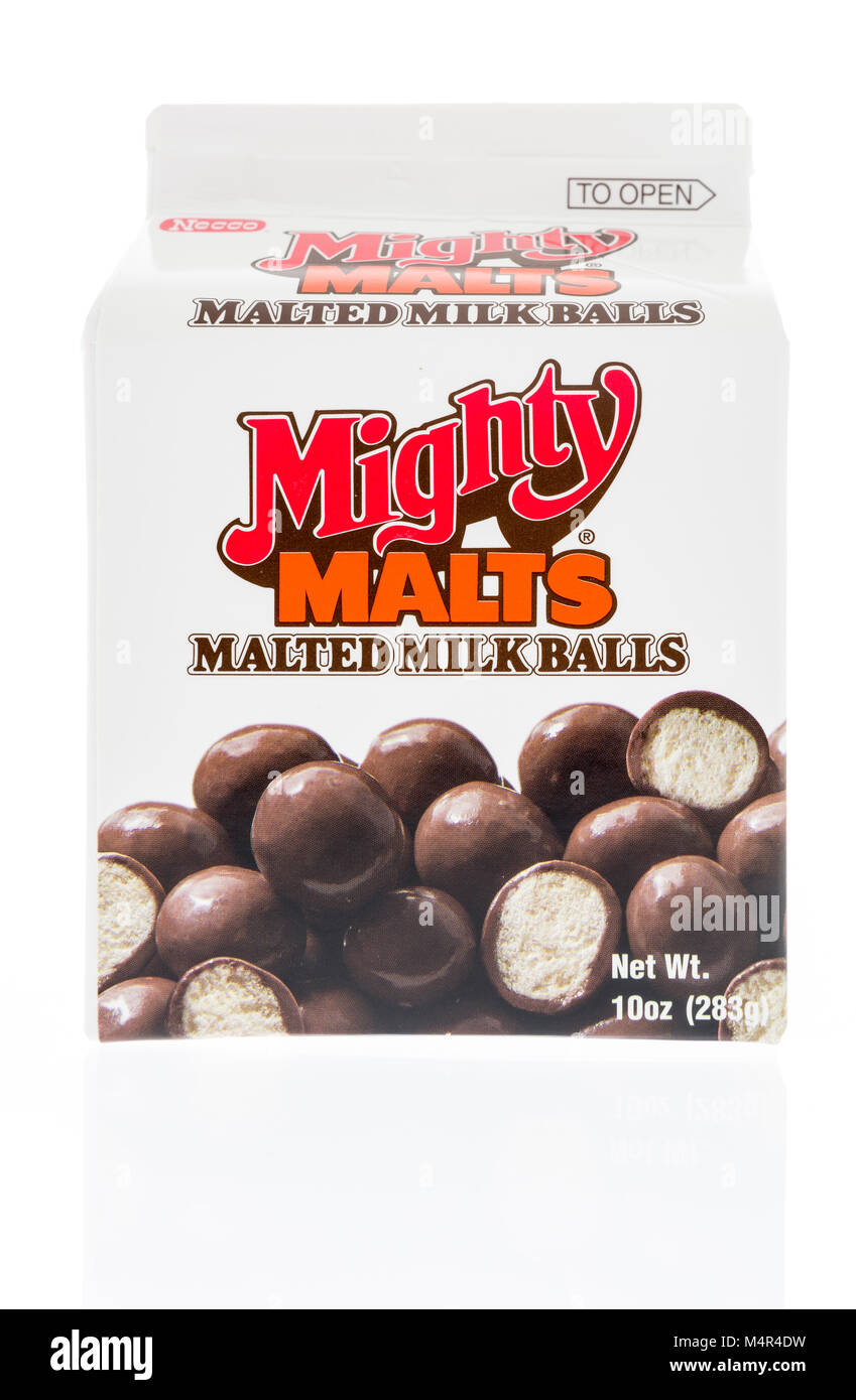 Winneconne, WI - 10 February 2018: A package of Mighty Malts malted milk balls on an isolated background. - Stock Image