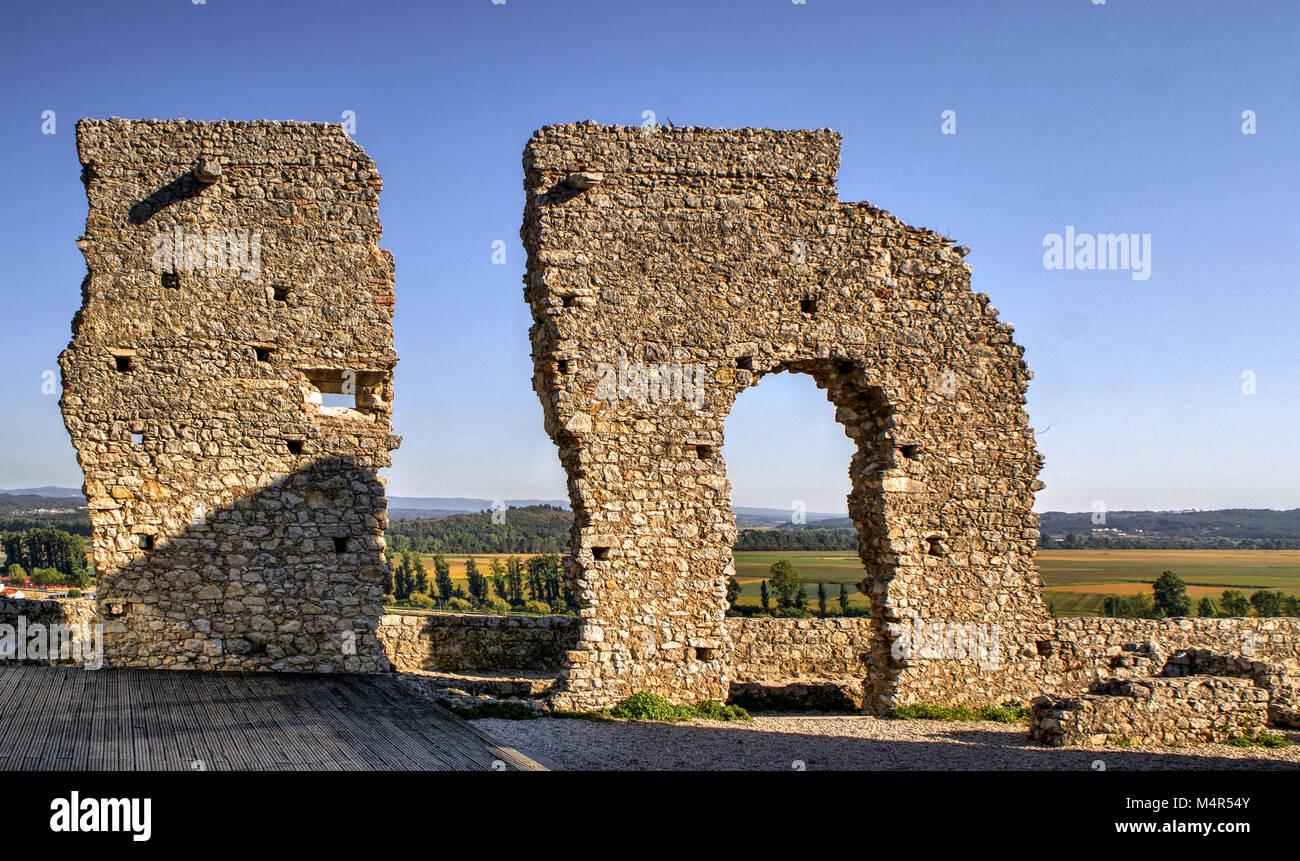 Ruined castle of Montemor-o-Velho, Portugal - Stock Image