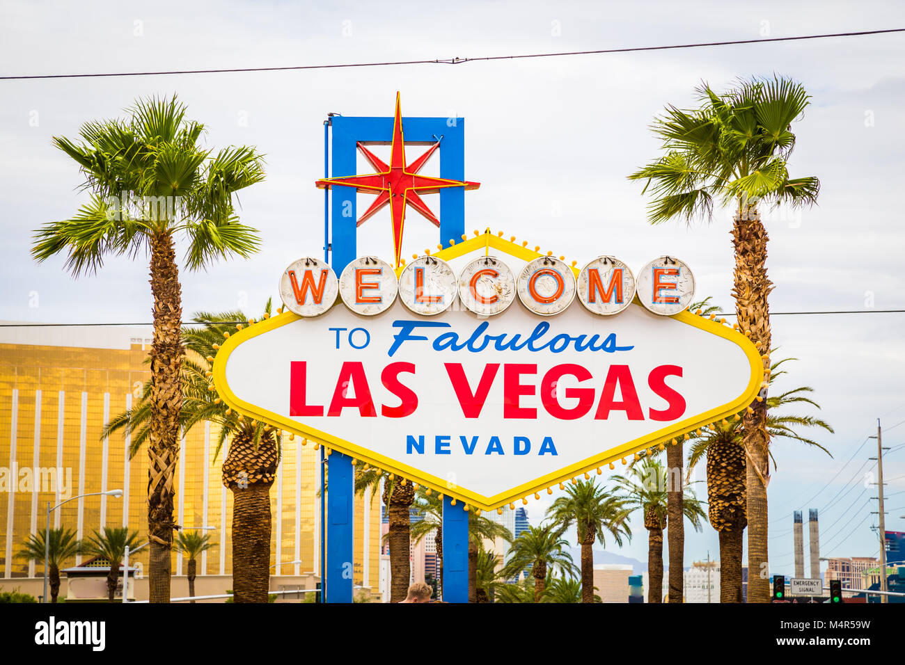 Classic view of Welcome to Fabulous Las Vegas sign at the south end of world famous Las Vegas strip on a beautiful - Stock Image