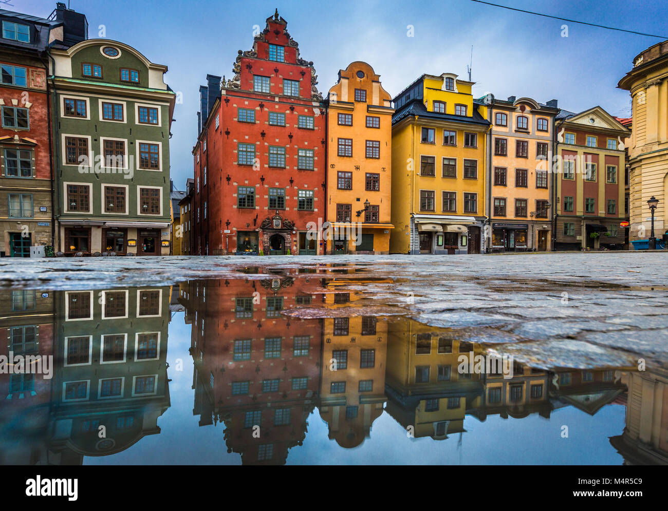 Colorful Houses In Stockholm Old Town City Stock Photos