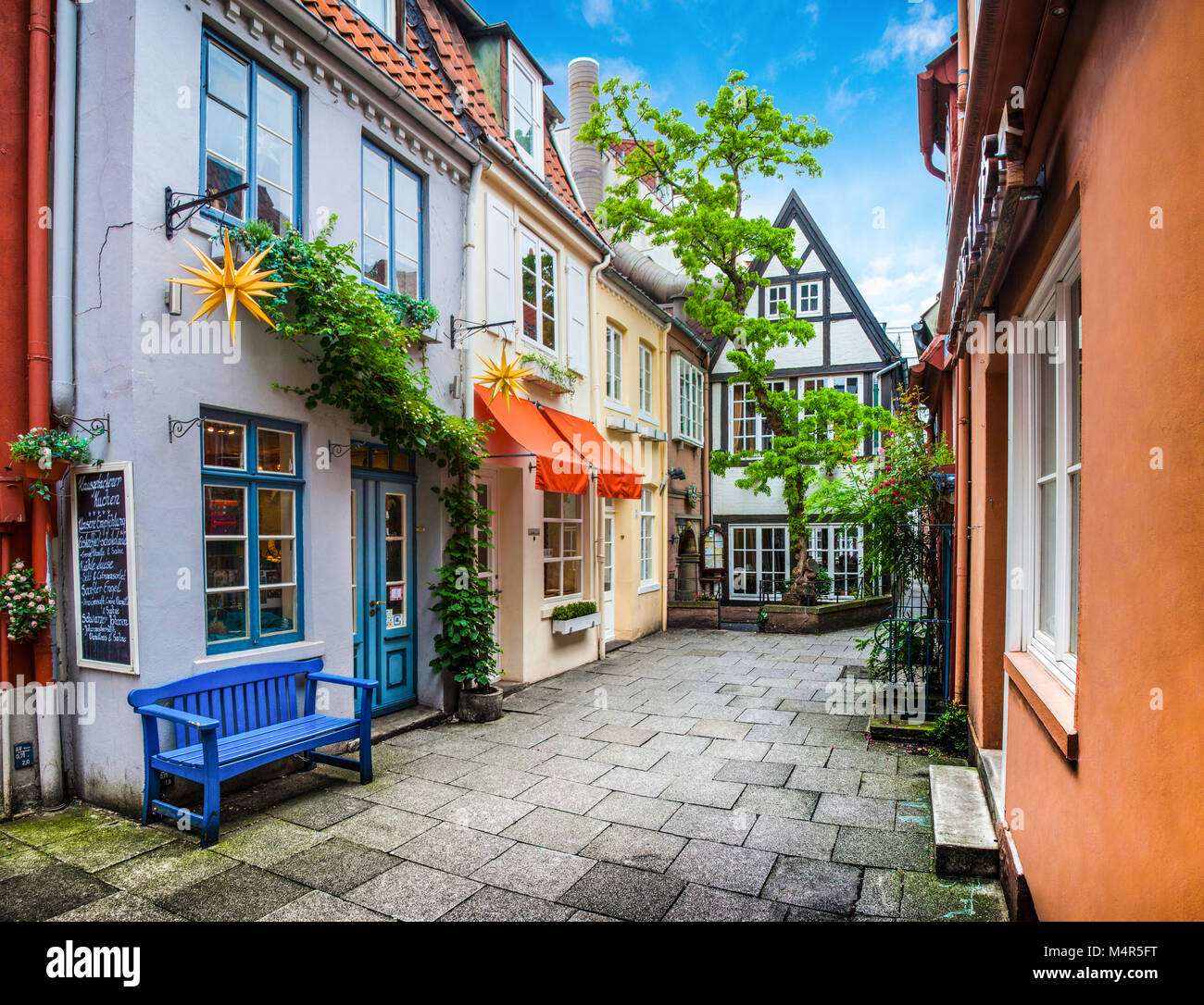 Colorful houses in historic Schnoorviertel in Bremen, Germany - Stock Image