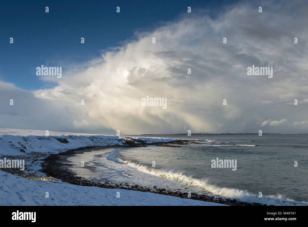 Huge cumulonimbus cloud over the Pentland Firth, from the Ness of Duncansby, between John o'Groats and Duncansby - Stock Image