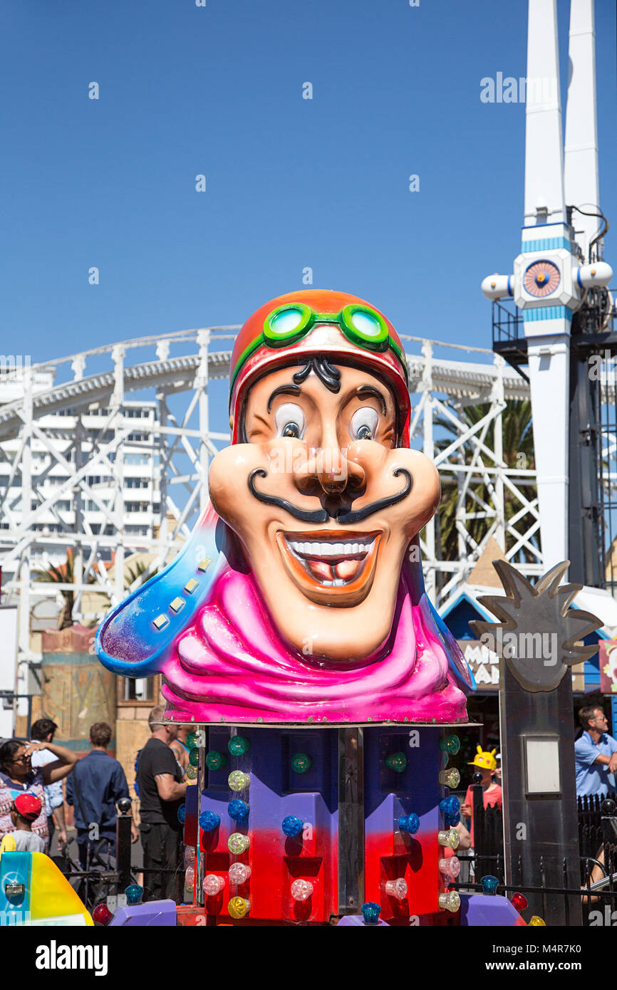 St Kilda, Melbourne, Australia: March 18, 2017: Part of the merry-go-round in the amusement park in St Kilda. - Stock Image