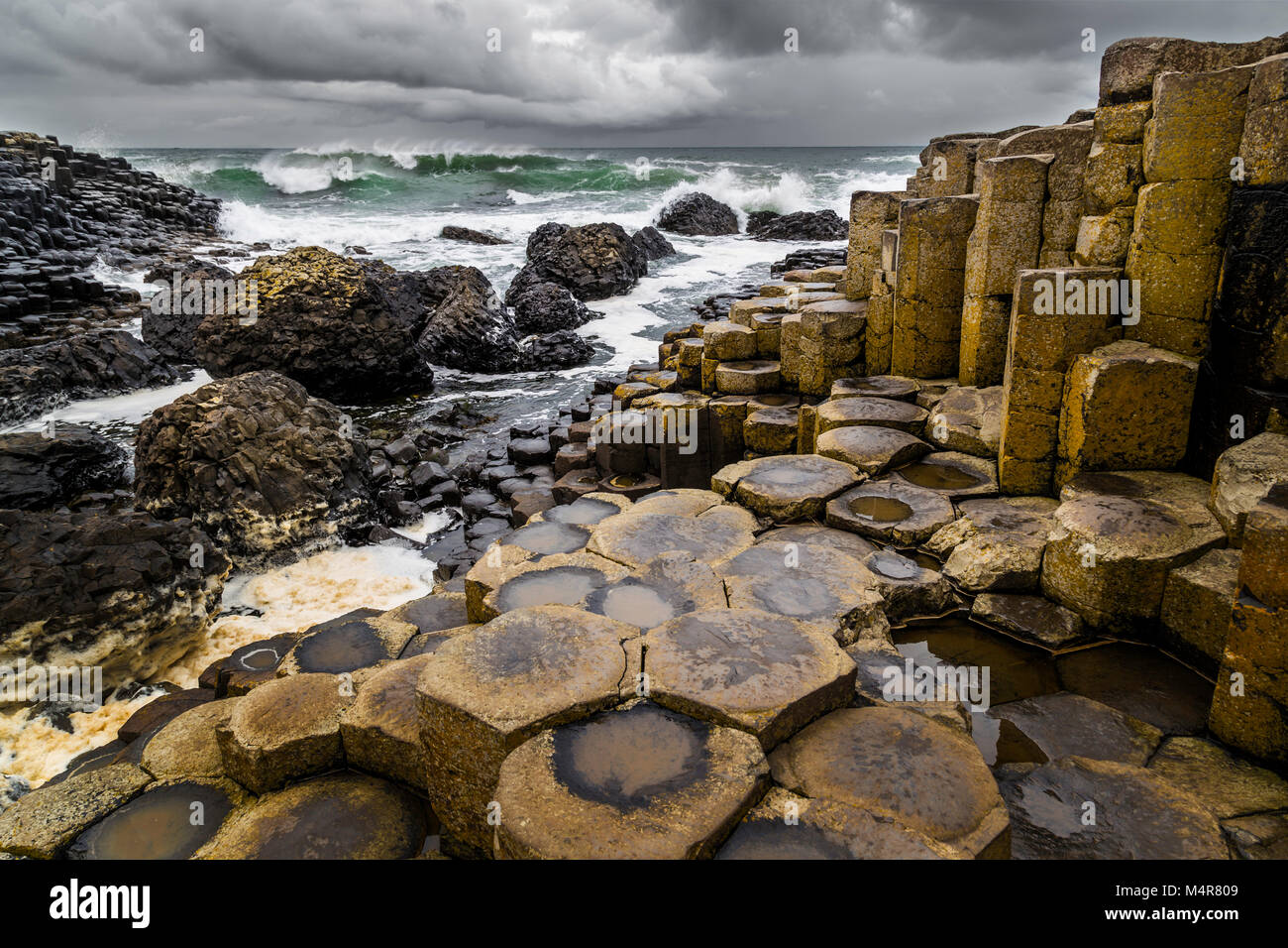 The Giant's Causeway in north of Ireland is an area of about 40,000 interlocking basalt columns, the result - Stock Image