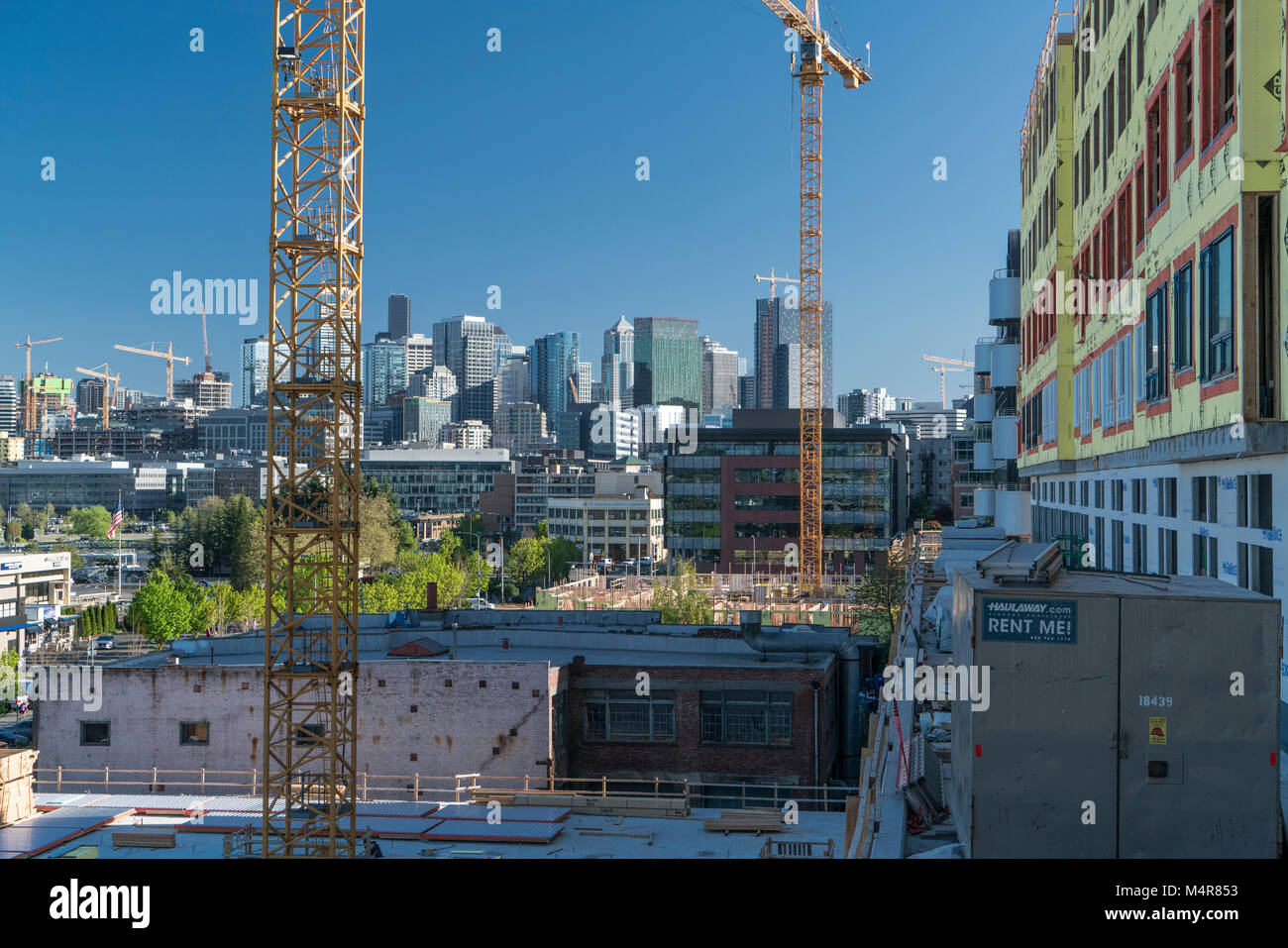 Construction site in South Lake Union, Seattle, Washington, USA - Stock Image