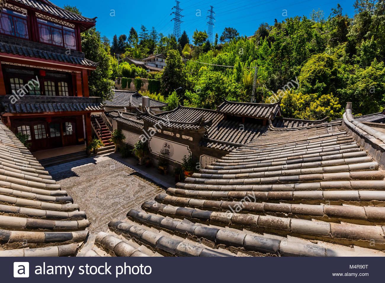 Lijiang Jinhong Villa hotel, Lijiang, Yunnan Province, China. - Stock Image