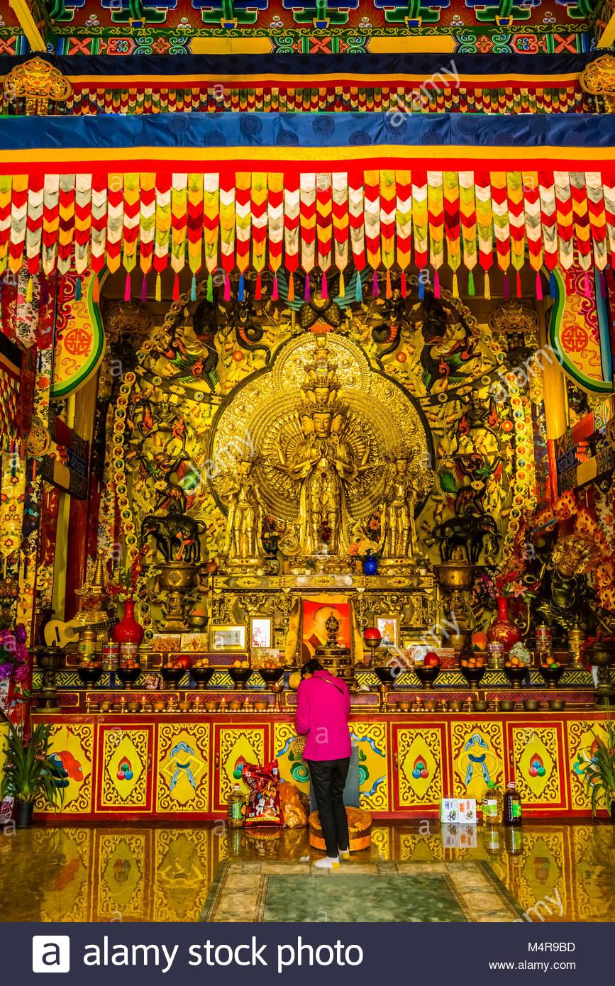Buddha statue, Fuguo Monastery, near, Lijiang, Yunnan Province, China. - Stock Image