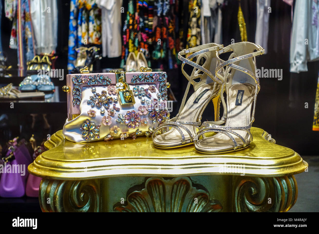 Dolce Gabbana store, Parizska street, Prague shopping, Czech Republic - Stock Image