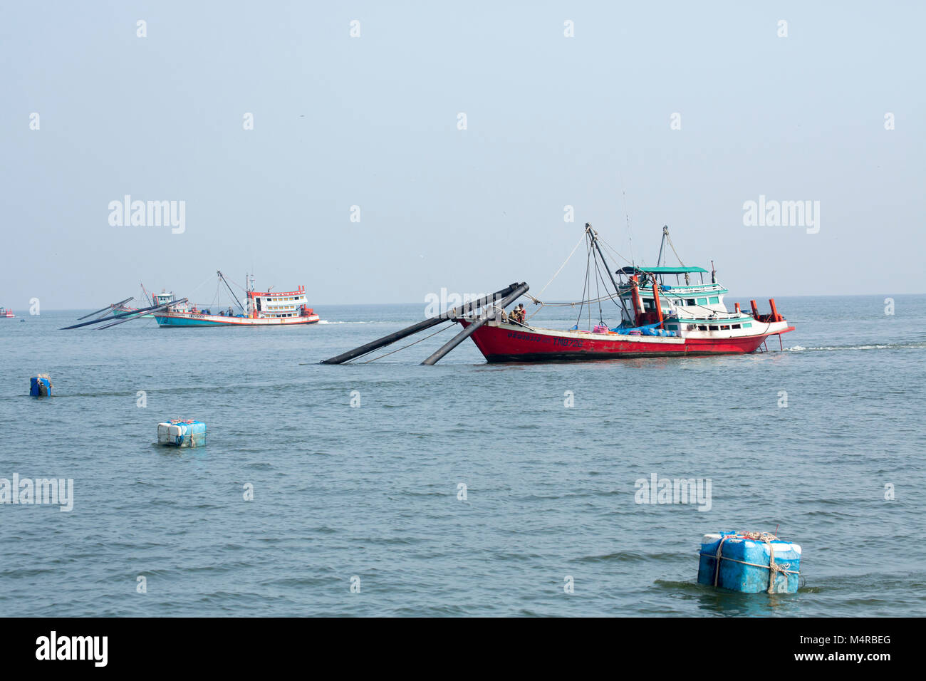 Fishing boats in the Gulf of Thailand Stock Photo