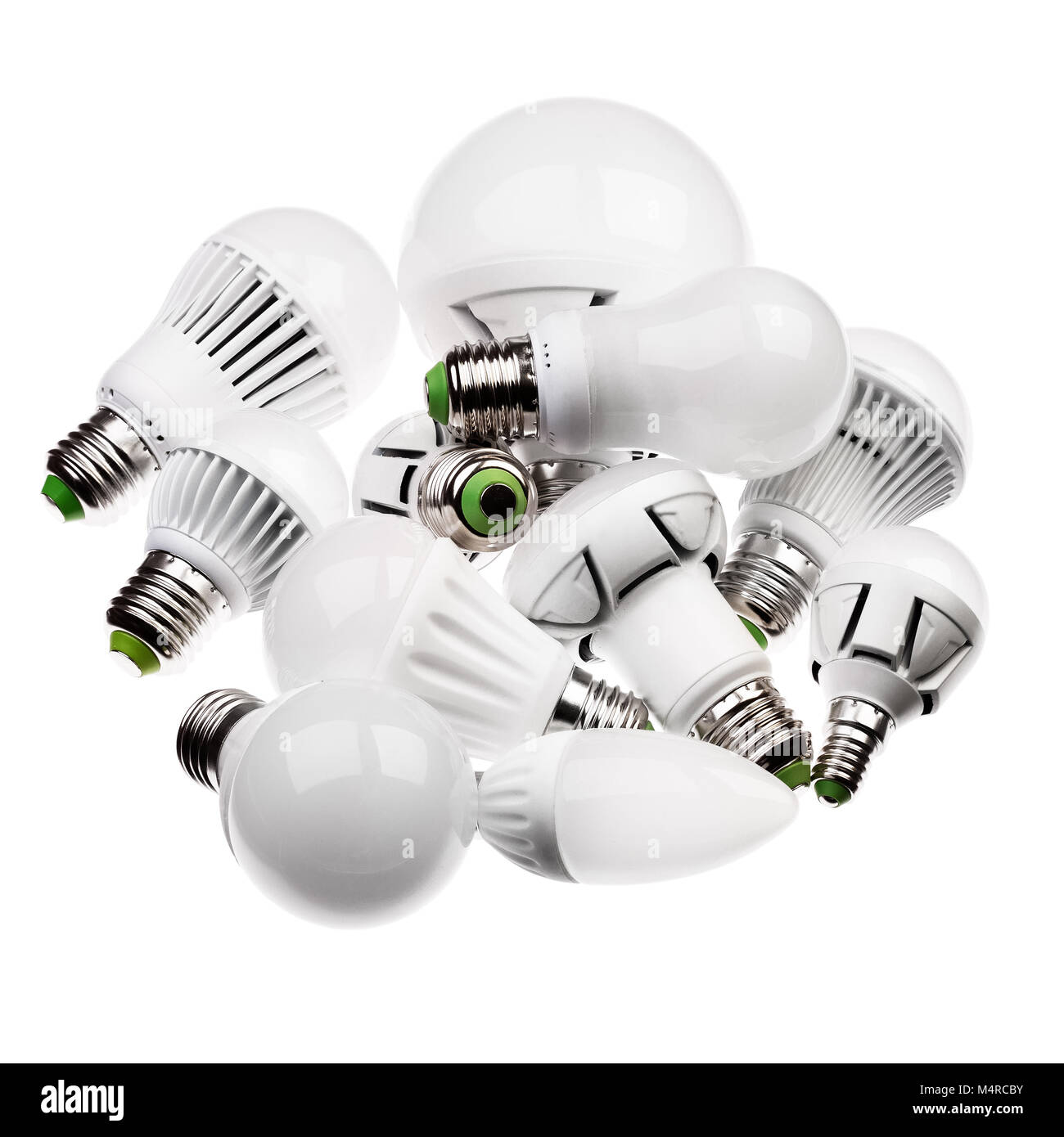 LED lamps GU10 and E27 with a different sockets isolated on white - Stock Image