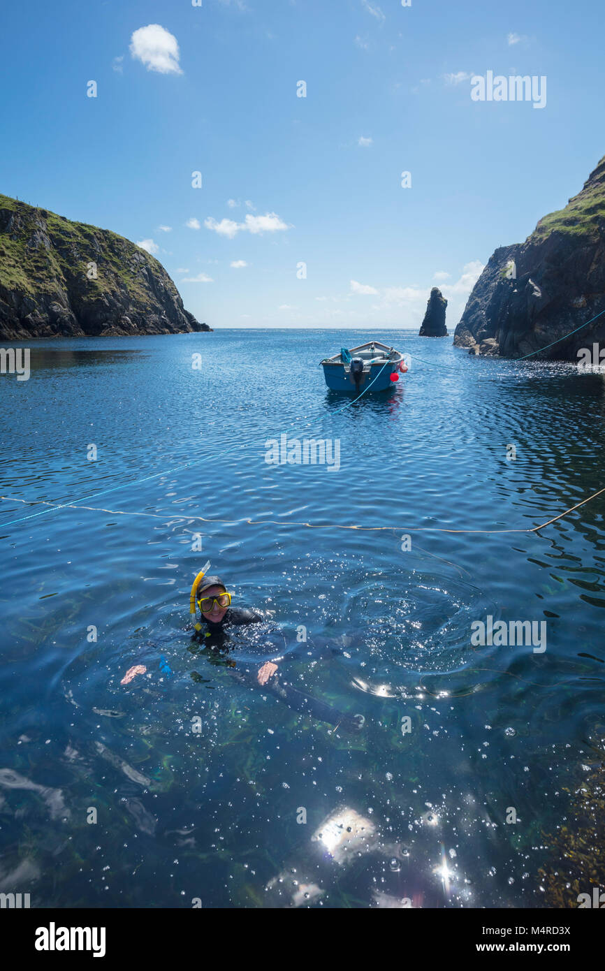 Snorkeling in Malin Beg Harbour, County Donegal, Ireland. - Stock Image