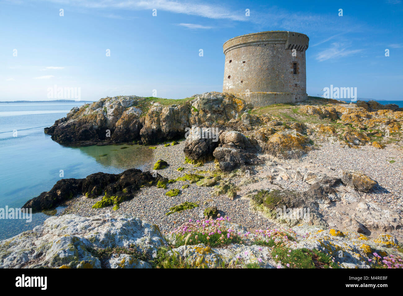 Martello Tower on Ireland's Eye, Howth Head, County Dublin, Ireland. - Stock Image