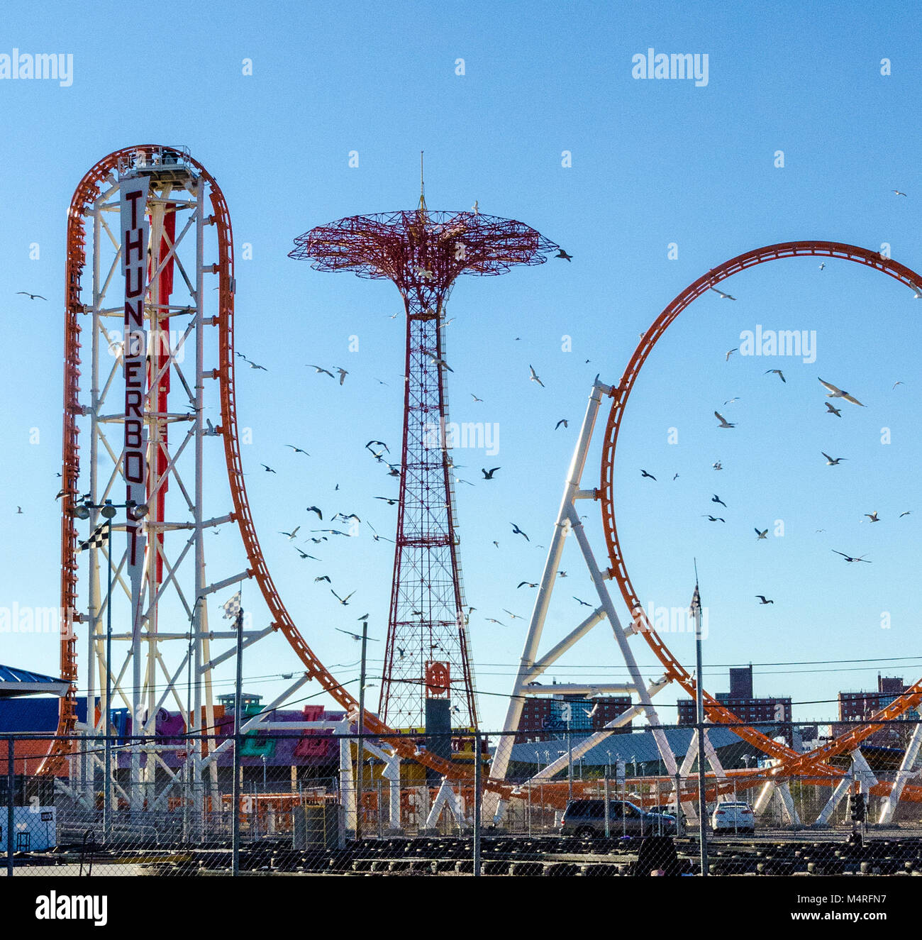Coney Island Old Rides, New York USA - Stock Image