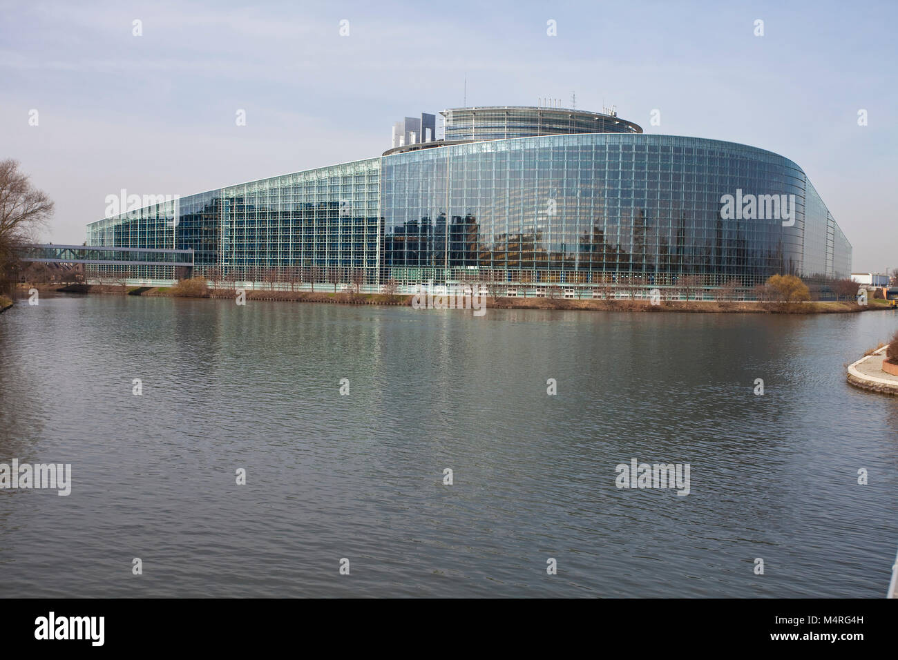 European Parliament at Ill river, Strasbourg, Alsace, Bas-Rhin, France, Europe - Stock Image
