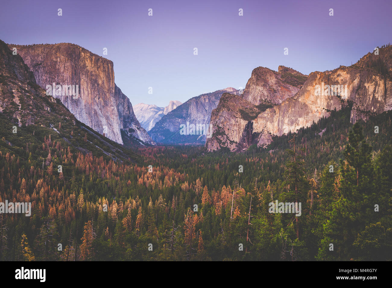 Classic Tunnel View of famous Yosemite Valley in beautiful post sunset twilight during blue hour at dusk in summer, - Stock Image