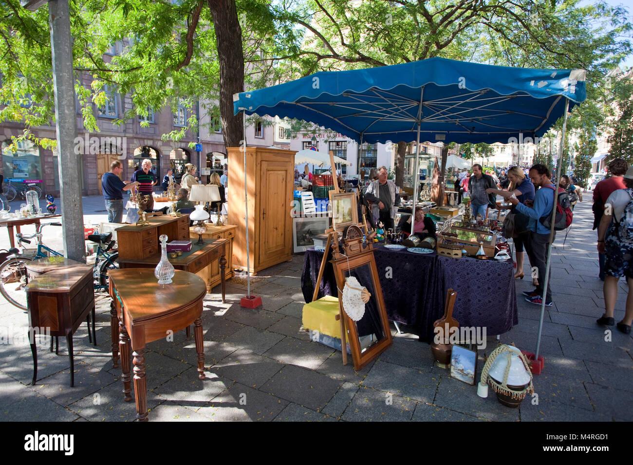 Flea market at Rue du Vieil Hopital, Strasbourg, Alsace, Bas-Rhin, France, Europe - Stock Image
