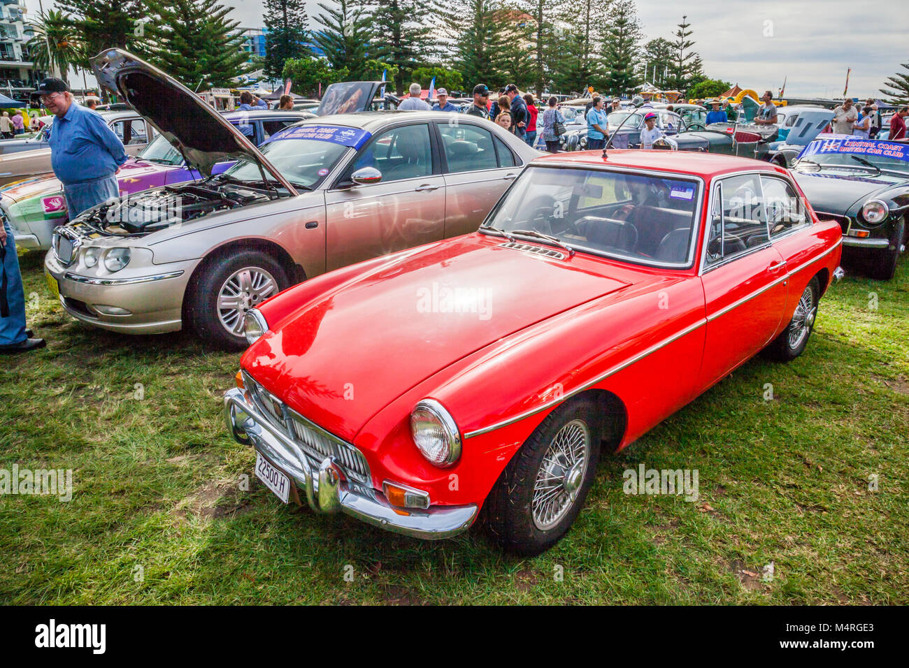 Australia, New South Wales, Central Coast, 1965 MG MGB GT sports car, exhibited during the Central Coast Historic - Stock Image