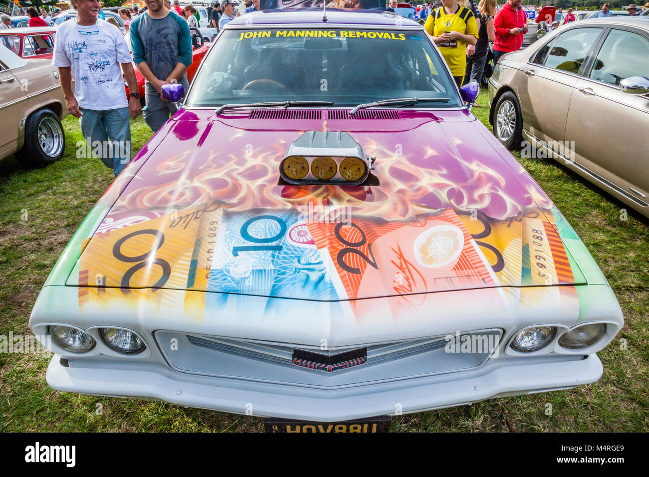 Australia, New South Wales, Central Coast, The Entrance, fancy paintwork on the bonnet of a Holden Commodore HSV - Stock Image