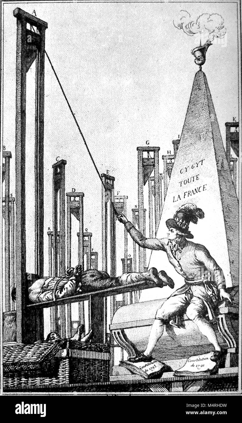Cartoon showing Robespierre guillotining the executioner after having guillotined everyone else in France. Maximilien - Stock Image