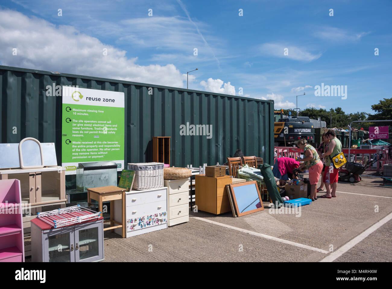 Council tip, waste management centre, recycling centre, Christchurch, Dorset, UK - Stock Image