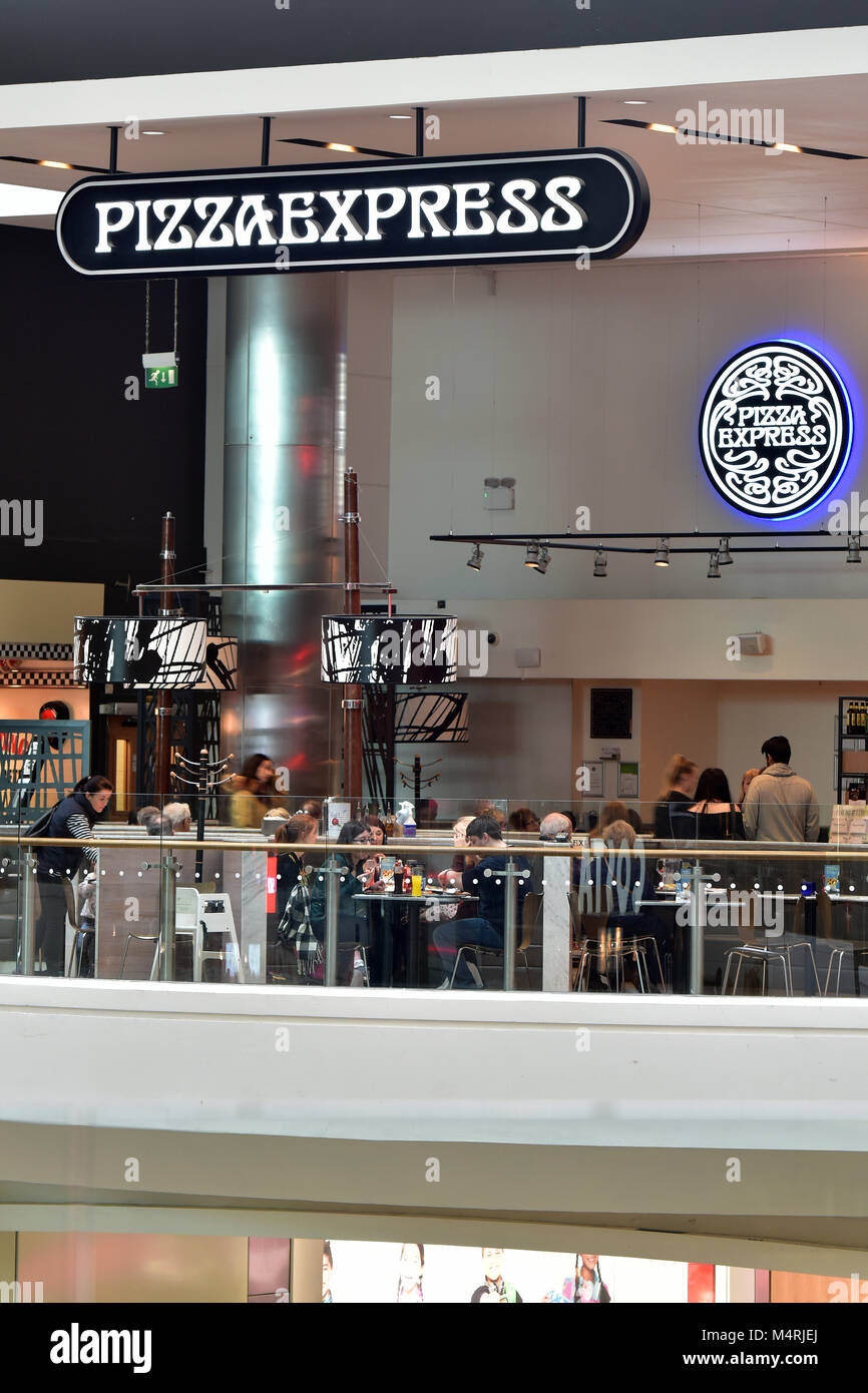 A Large Pizza Express Store Or Restaurant On A Balcony In