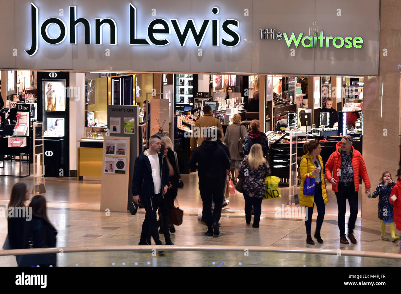 the front of a large john lewis and waitrose store or shop in west quay shopping centre in the centre of the southampton. - Stock Image