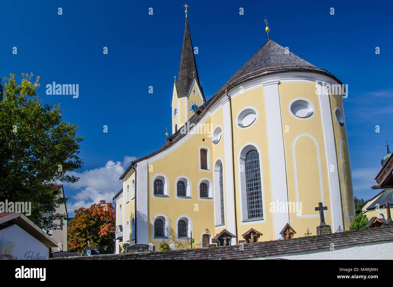 Schliersee is a small town (Markt) and a municipality in the district of Miesbach in Bavaria in Germany. It is named - Stock Image