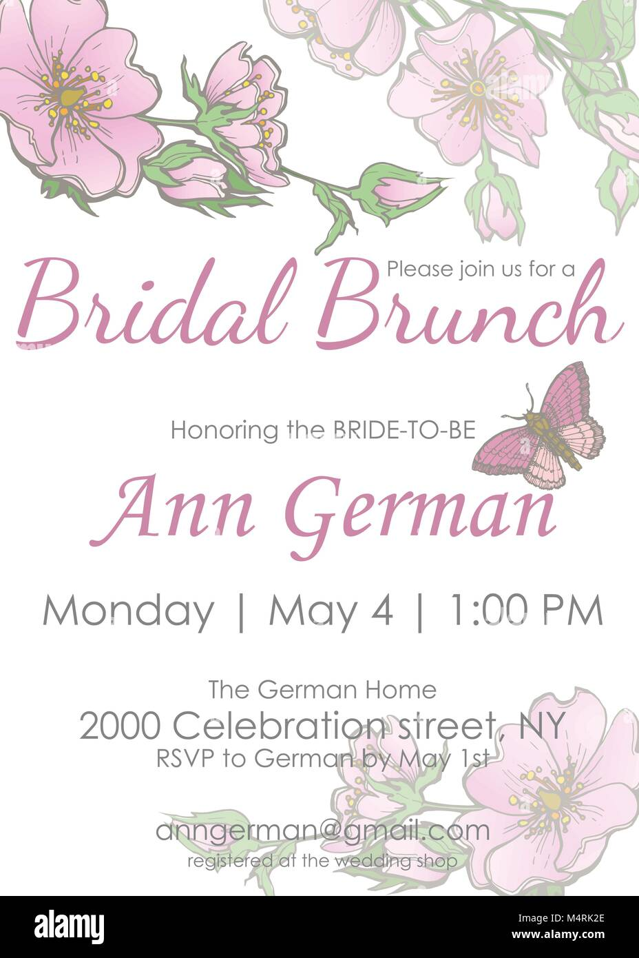 Bridal Shower Bridal brunch Invitation vector template with Flowers ...