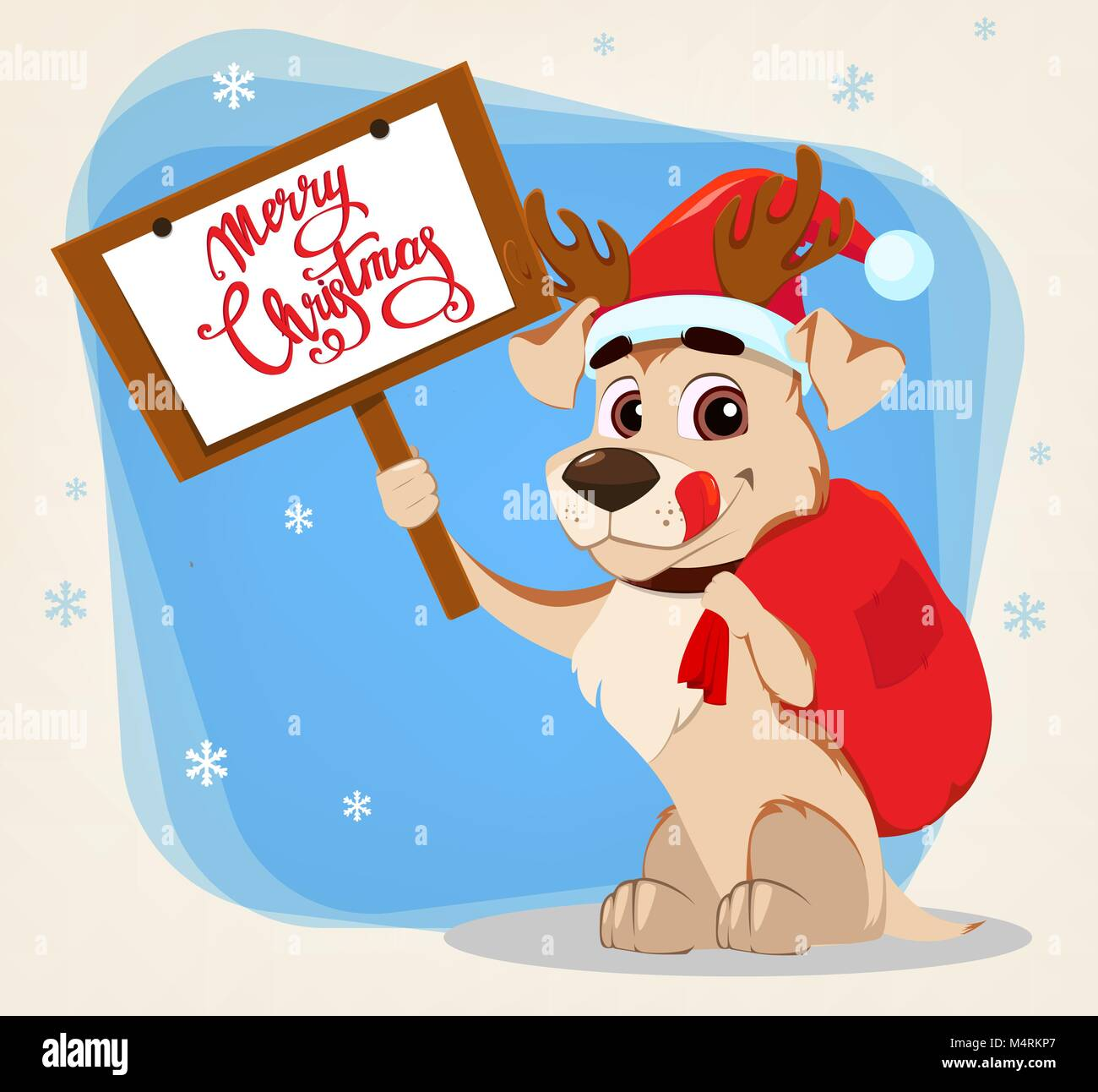 Merry christmas greeting card funny dog wearing santa claus hat and merry christmas greeting card funny dog wearing santa claus hat and deer antlers and holding placard with greetings and bag with gifts vector illust m4hsunfo
