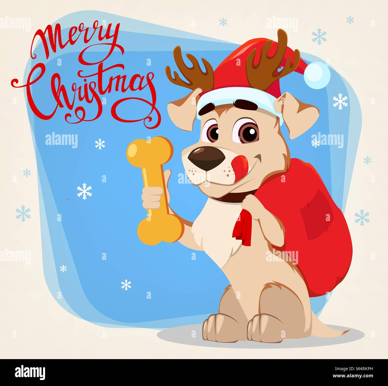 Merry Christmas Greeting Card Funny Dog Wearing Santa Claus Hat And