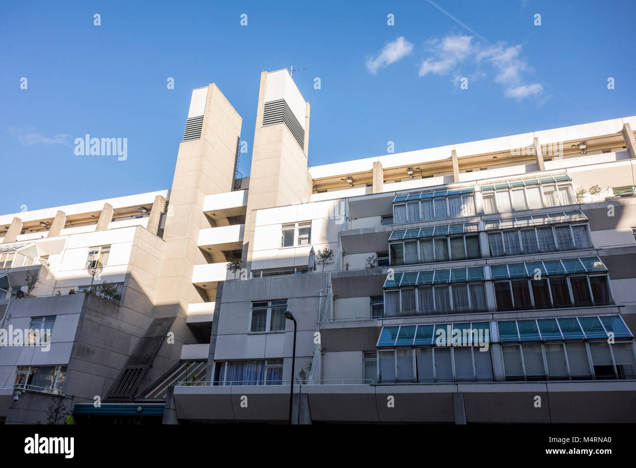 The Brunswick Centre Brutalist architecture, Bloomsbury, London, UK - Stock Image