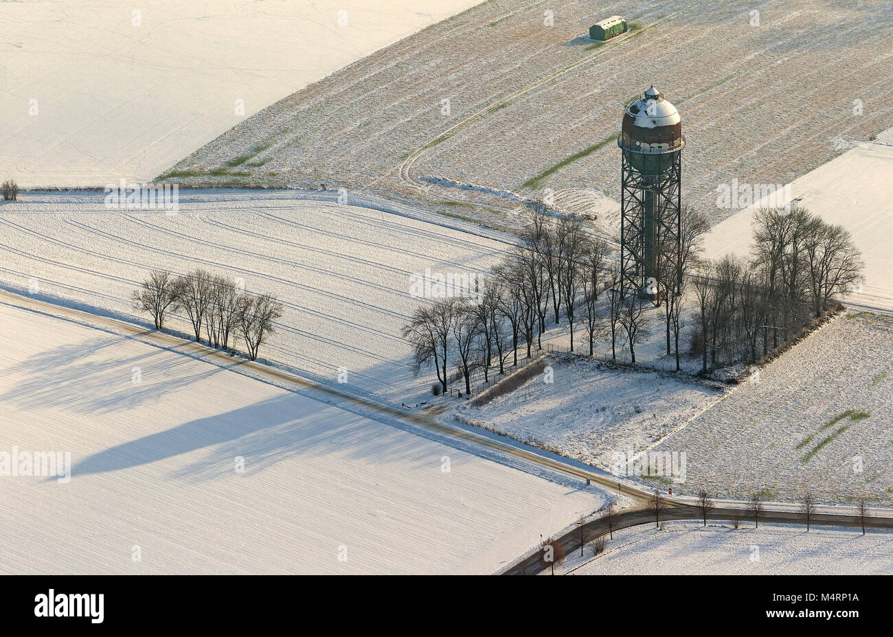 Aerial view, historic water tower Lanstroper egg in the snow, monument, Dortmund, Ruhr area, North Rhine-Westphalia, - Stock Image