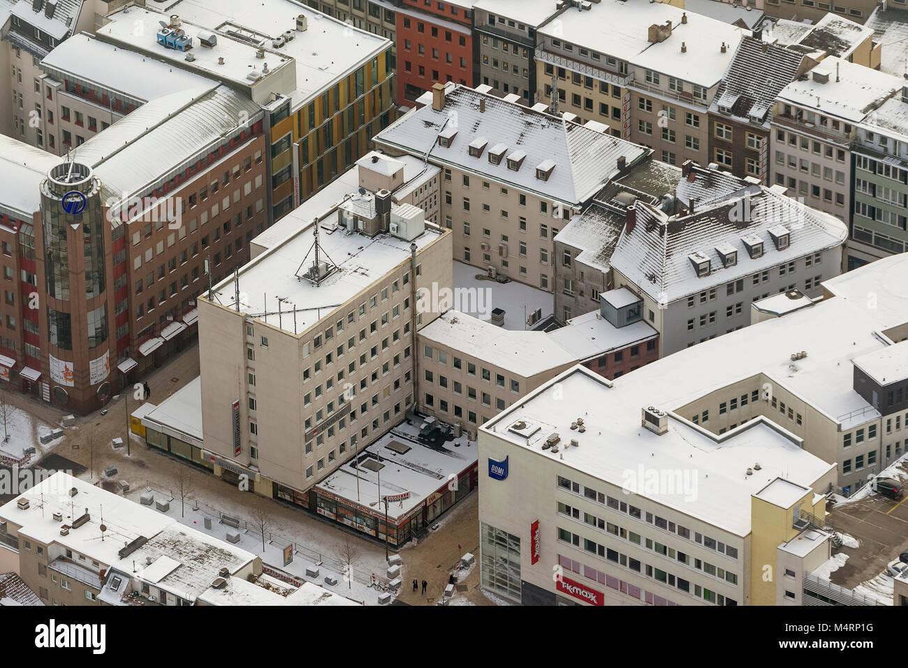 Luftbild, newspaper house, editorial offices, WAZ group, Rundschauhaus, Westfälische Rundschau, Dortmund, Ruhr - Stock Image